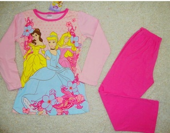 Brand new Free shipping children GIRL princess long sleeved + long pants pajamas sleepingwear 100% cotton