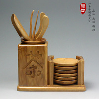 Freeshipping Bamboo tea folder needle tea teaspoonful coasters 12pcs tea set