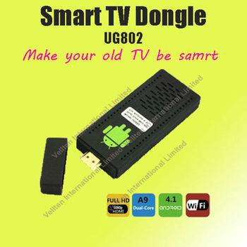 Free shipping Dual Core 4GB Android 4.1 wireless google tv box UG802 (mini PC TV/set top box/TV Stick) RK3066 1080p HD media