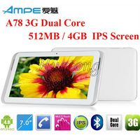 "AMPE A78 Dual Core 7"" built in 3G GPS Tablet IPS Android 4.0 Qualcomm MSM8225 Dual-core 1.2GHz WiFi Dual Cameras"