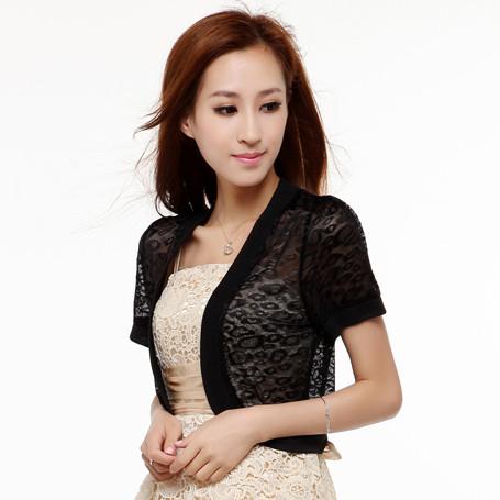 Summer women's suspender skirt chiffon lace shrug small cape all-match short-sleeve thin cardigan coat(China (Mainland))