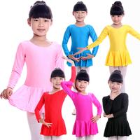 Child Long-sleeve One-piece Dress Ballet Skirt Gym Suit Ballet Dance Latin Dance Skirt Kids Dance Wear Leotard SM004