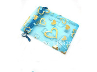 Free Shipping Wholesale 100pcs/lot 9X12cm Blue Drawable Organza Packaging Wedding Gift Bags&Pouches0809005-1