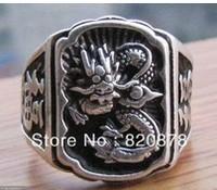 Wholesale handmade Tibet tibetan miao silver hand carved Men `s Dragon Rings fashion jewelry # 003 2PC/LOT