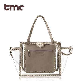 Tmc women's handbag fashion motorcycle rivet transparent bag jelly bag beach bag waterproof yy058 cross-body handbag