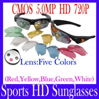 EMS Free shipping Sports HD Sunglasses--HD 720p SportS Camera Sunglasses Unisex sport Sunglass with remote controller 5pcs/lot(China (Mainland))