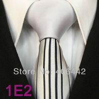 Coachella Men's ties New design White Knot Contrast Silver Black Stripe Two Tone Woven Necktie Formal Neck Tie for dress Wedding