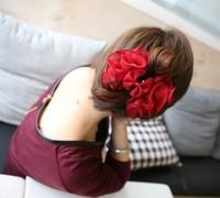 Mix Wholesale Hair accessory  Chiffon Rose Hair Clip Bow Flower Grip Gripper Pin