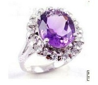 Wholesale Nobility beautiful amethyst woman's ring size 7-9 fashion jewelry