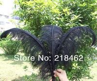 "wholesale price! 50pcs/lot 12-14""30-35cm black Ostrich Feather Plume FREE SHIPPING wedding decoration"