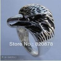 Wholesale handmade Tibet tibetan miao silver hand carved Men `s hawk head Rings fashion jewelry 2PC/LOT #002