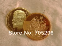 Free shipping High quality  Russian 1 Rubles 1901 Gold clad Replica Souvenir coins,russia coin collection