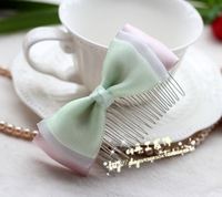 Pure Solid color handmade bow comb sheer hair  clip maker bow side-knotted bangs clip Hair Accessories
