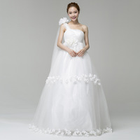 Free Shipping 2013 New Style fashion one shoulder flower strap style bride  Wedding dress