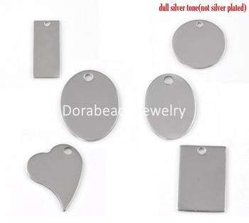 Free Shipping! Stainless Steel Charm Pendants Silver Tone 24x17mm,3.8x1.6mm,30PCs (B22138)