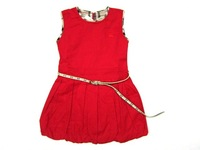 Hot 2013 brand girls kids casual dress fashion brand baby grils dress 100% cotton vests dress with belt