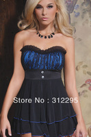 Fashion Freeship+New Arrival N2855 Blue Romantic Sexy Babydolls Chemises With Robe G-string