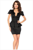 2013 Elegant Ladies' V-Neck Fashion Celebrity Pencil Dress,Women Wear to Work Slim Knee-Length Pocket Party Bodycon Dress