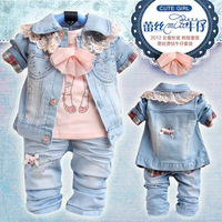 Free Shipping 3sets/lot Girls Set Jeans Set T Shirt +Coat+Jeans Baby Clothes Set 90-110CM 20121106A-A22