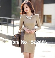 New 2013 autumn and winter Fashion Women Elegant Dress plus size Korea Style Hot Selling leather Patchwork Casual Dress  #069