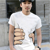 Hot, Men's fashion brand men's round neck short sleeve T-shirt big hand