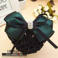 Dark Green Hostess Clerk Hair accessory Ribbon Butterfly bow net bag hair Clip