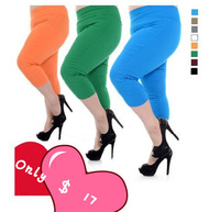 Plus size legging m candy color knee length trousers plus size plus size high waist elastic capris pencil size xl,xxl,xxxl