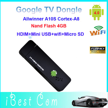 50pcs/lot Drop shipping mini PC android TV stick dongle Nand Flash 4GB Google Smart DLNA HDMI WiFi USB Micro SD wholesale