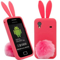 Cute Animal 3D Silicon Back Cover Soft Protective Bunny Rubber Rabbit Case for Samsung Galaxy Ace S5830