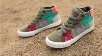 2013 colorant match high lacing flat bottom canvas shoes denim shoes women's vintage shoes