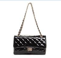 2013 new patent leather handbag authentic classic handbag women  one shoulder inclined cross bag half set bag