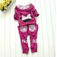 2013 kids sport wear Baby Clothing Set girls sport suit Fashion two-piece Baby Garment Butterfly Sets T032
