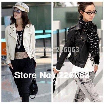 2014 New Arrival Women Lapel Rivets PU Faux Leather Jackets Zipper Punk Motorcycle Short Jacket Coat Outerwear pimkie