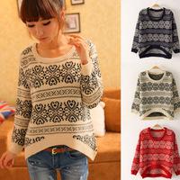 Fashion Printing Women's Ladies Sweater Round Neck Irregular Front Short Back Long Knitting Wool Pullover Free Shipping New