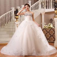 2013 sweet lace train wedding dress princess V-neck luxury crystal big train wedding dress