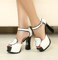 Free shipping 2013 fashion classic women sandals peep toe platform pumps thick with high heel shoes