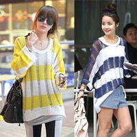 New Product  For Women Lozengy Cutout Stripe Knitted Sweater Pullover Loose Fashion  Ladies's Sweater