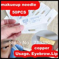 Free Shipping 50pcs Copper Permanent Makeup Manual eyebrow tattoo needles blade