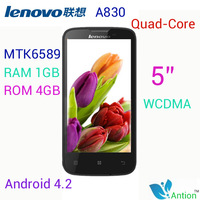 Supports Russian Original lenovo a830 Black White phone Quad-Core WCDMA 8.0MP  RAM 1GB / ROM 4GB 5 inch QHD 3G free shipping