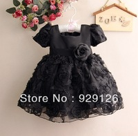 Wholesale 4Pcs/Lot Kids Black Rose Flower Dress Baby Grils Party Dresses Girl Princess Dress 1T 2T 3T 4T