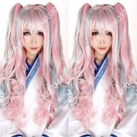 Wholesale Imitation human made Cosplay wig rainbow wig powder blue wig card split type wig