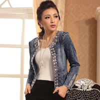 New 2014 Women Jackets Autumn -Summer Denim Jacket Rhinestone Bomber Short Jeans Casacos Jacket the Coat for womenTops sale