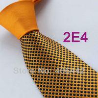 Coachella Men's ties New design Orange Knot Contrast Orange Black Spots Two Tone Woven Necktie Formal Neck Tie for dress Wedding