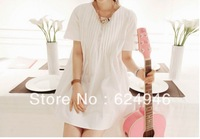 Best selling!!High quality Short sleeve casual shirt female loose big yards fat MM was thin pleated cotton dress  free shipping
