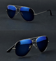 Full Blue Mirrored Aviator Sunglasses Dark Tint Lens Silver Frame UV400 BNWT