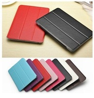 Free Shipping Foldable magnets stand case Super thin magnetic Smart Cover case PU Leather Case for ipad mini cover