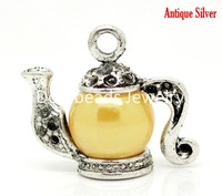 Free Shipping! Antique Silver Acrylic Beads Teapot Charm Pendants 19x17mm, sold per packet of 10 (B17156)