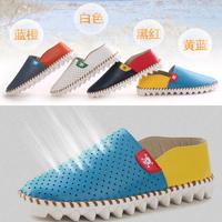 13 summer Mens Platorm Sandals breathable Mesh Shoes popular Male Shoes cutout ultra-light toe cap covering sandals White Orange