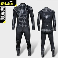 New Arrival G-Like Spiderman Black Venom Winter warm up Thermal Fleece Cycling Bicycle Bike  Jersey  &  Pants