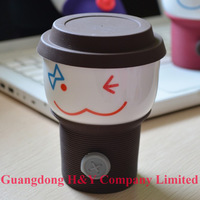 Wholesale Free FedEx Shipping Mix Colors 100pcs/lot Cute Button Cup Silicon Gel Heat Proof Film Smiling Expression Cup